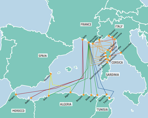 Ferries to the south of France – including Corsica – from Italy, Spain, and North Africa. Map: Anita Razak
