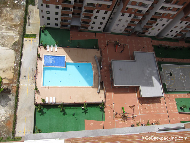 View down to the pool.