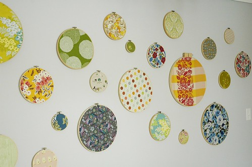 Fabric embroidery hoop wall