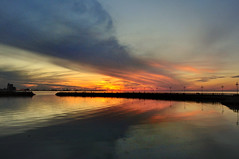 Cloud reflection (Qais Alamar) Tags: sunset sea cloud reflection gold evening nikon day view rush kuwait 1855mm setting qais d90 alamar