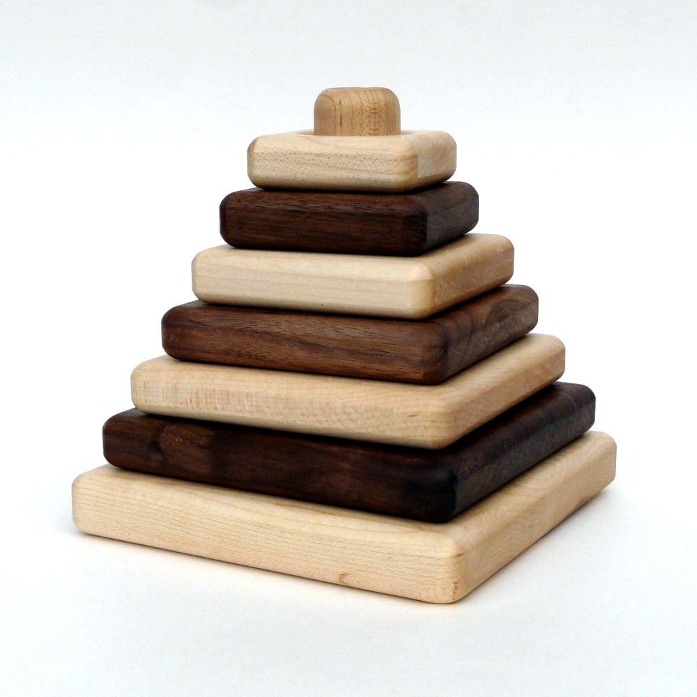 organic Sapling Stacker, natural wooden developmental toy 1
