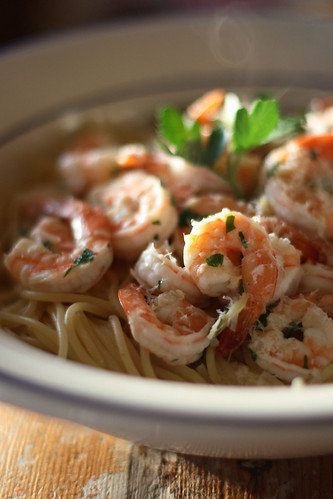 Garlic Shrimp and Spaghetti
