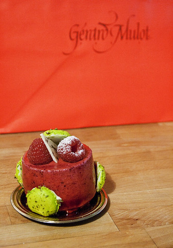 Gérard Mulot Red Fruit Mousse with Pistachio Macaron Tops