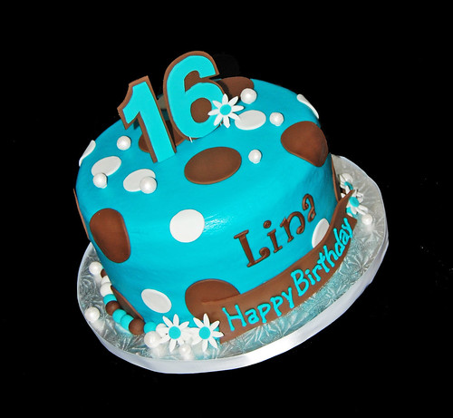 turquoise and brown sweet 16 cake with polka dots, flowers and pearls