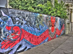 Mother Earth/Father Sky Neighborhood God/Goddess Mural, Handheld HDR (Walker Dukes) Tags: sanfrancisco california flowers blue red sculpture fish art water rain birds clouds canon mouth painting skulls skull eyes hand snake turquoise madonna sidewalk photographs oceans snakes diety photomatix tonemapped automaticexposurebracketing canons95
