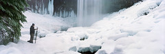 Tamanawas (Zeb Andrews) Tags: winter panorama snow film ice oregon landscape frozen waterfall photographer mthood pacificnorthwest bluemooncamera tamanawasfalls