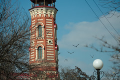An old fire tower in Volgograd, Russia (k.dmitrijewa) Tags: old travel blue red sky tower architecture digital canon spring russia russie firetower watchtower rusia observationdeck observationtower volgograd russland  rosja  feuerwachturm  wolgograd rusya 40d oroszorszg tsaritsyn canon40d pennyjey