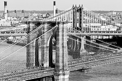 Two Bridges: Manhattan and Brooklyn (RBudhu) Tags: nyc newyorkcity brooklyn brooklynbridge gothamist suspensionbridge johnroebling touristattraction gawker nationallandmark washingtonroebling newyorkcitynewyorklandmark
