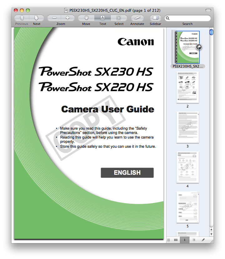 Canon SX230 HS Manual