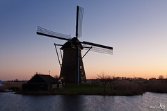 Windmill Kinderdijk (BraCom (Bram)) Tags: sunset reflection windmill zonsondergang explore windmolen spiegeling poldermolen bracom
