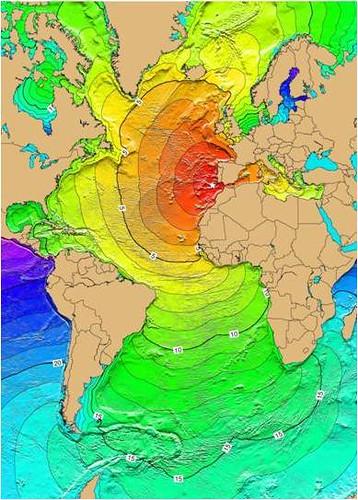 mapa de Fukushima a Lisboa