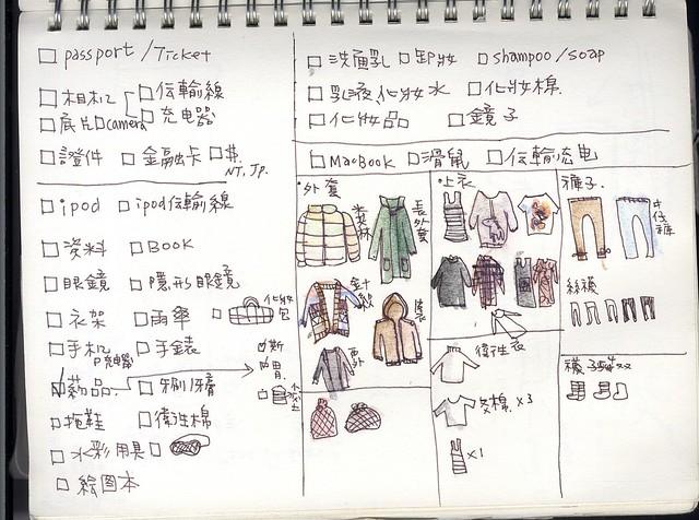 【本子。日本】出發清單