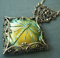 iridescentdragonflynecklace4 (theothermagdalene) Tags: green silver insect grey necklace fantastic wings aqua shine dragonfly magic gray large jewelry crest fantasy mystical iridescent curl lime magical scroll mystic neovictorian peridot czechglassbutton filigreewrap