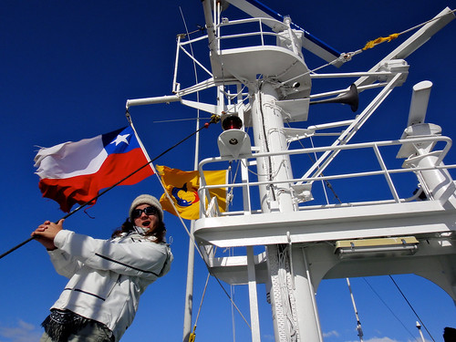 Wendy and Flags on Navimag's Puerto Eden