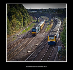 DRS class 68 Network Rail Test Train at Masbrough North - 9096+101 (Dao-Haiku) Tags: masbroughnorthjunction drs directrailservices class68 68021 tireless 68016 fearless 1z04 derbyrtctoheatontrsmd vossloh eastmidlandstrains ecs emptycoachingstock class43 hst highspeedtrain 43089 5f34 sheffieldtonevillehilltrsmd wcrc westcoastrailwaycompany pmrtours theprincessroyalclasslocomotiveclass theyorkshirecoronation lms londonmidlandscottishrailways coronationclass8p stanier462 46233 duchessofsutherland 1z61 staffordviaderbyyorktoscarborough templeboroughbiomass oldroad midlandmainline newyorkstadium millmoor boothsscrapyard masbroughstationnorthjunctionsignalbox buddleiahalt midlandironworks signals0423 signals0425 coach72631 plpr plainlinepatternrecognitioncoach coach6264 generatorvan imt infrastructuremonitoringtrain