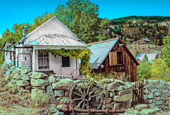 Last Post Office and Ice House (http://fineartamerica.com/profiles/robert-bales.ht) Tags: architecture forupload haybales idaho oldbuldings people photo places projects slivercithy slivercity states toworkon postoffice icehouse building ice ghost town old abandoned historic antiquewood west wooden vintage western mountain usa buildings rustic transport mine gold pioneer landscape houses goldmine miners sand national clouds mineral woodbuidling weathered goldtown street cowboy forgotten robertbales sliver owyhee silvercity empirecity rubycity mines wagonwheel