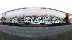 weezy, ghouls (No Real Name Given.) Tags: train bench graffiti stitch pano hopper freight weezy ghouls wyse a2m grainer benching