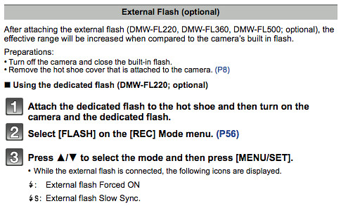 Using external flash units, as referenced on page 190 of the Panasonic GF2 Manual (Advanced)