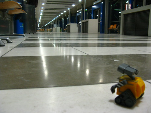 At the airport... Wall-E's gate is far, far away