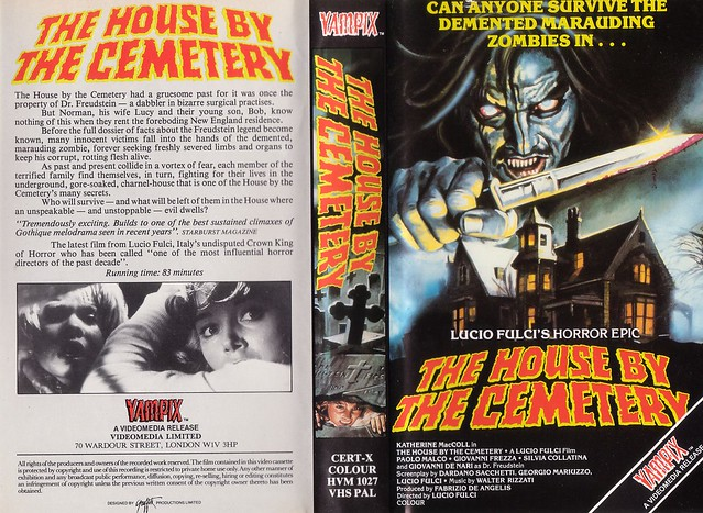 THE HOUSE BY THE CEMETERY (VHS Box Art)