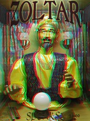 Zoltar (Anaglyph 3D) (patrick.swinnea) Tags: museum stereoscopic stereophoto 3d big texas anaglyph novelty wish fortuneteller ripleysbelieveitornot tomhanks crystalball movieprop zoltar grandprairie moviereplica