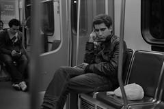 Commute: The Thinker (S.Vegas) Tags: camera leica canada film vancouver 35mm 50mm downtown kodak trix thinker january rangefinder iso 400 f2 skytrain translink the m4p 2011 svegas