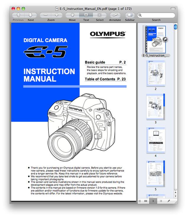 Olympus E-5 Manual
