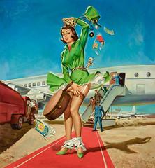 AL BRULE - Forced Landing, calendar illustration, 1963