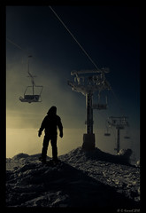 Ski Ghost (AlpineEdge) Tags: winter sky mountain snow canada man cold tower abandoned ice lines silhouette statue clouds outdoors frozen hands bc hiking top interior seat aaron cable alpine figure summit 17 snowshoeing depth frozenover chairlift bigwhite skihill dayhike shadown windchill falconchair backpakcing skighost