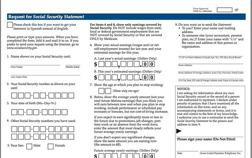 Social Security Statement Online Forms