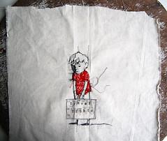 Travel light (Els Vlieger) Tags: boy stitch textile suitcase travellight elsvlieger