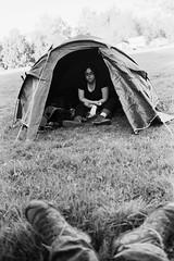 Ekeberg camping in Oslo (Sylvain Raybaud) Tags: voyage travel camping blackandwhite film oslo norway 35mm norge minolta noiretblanc tent 135 scandinavia schwarzweiss zelt reise argentique tmax100 tente x700 norvge ekeberg 24x36 scandinavie