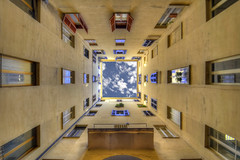 Falling in the sky (Nespyxel) Tags: vortex roma lines architecture buildings court escape pov wide vertigo courtyard lookingup pointofview dizzy grandangolo architettura hdr palazzi cortile fuga geometrie persective linee 10mm geometries tonemapping overmyhead nespyxel stefanoscarselli noseuprome luglio2011challengewinnercontest