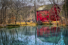 Reflections of An Old Red Mill (Uncle Phooey) Tags: winter reflection mill rural spring alley scenic missouri ozarks hdr gristmill grist eminence alleyspring 2011 alleymill southwestmissouri scenicmissouri
