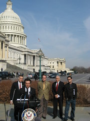 Mark Ruffalo, Josh Fox, Maurice Hinchey speaking before the Capitol dome