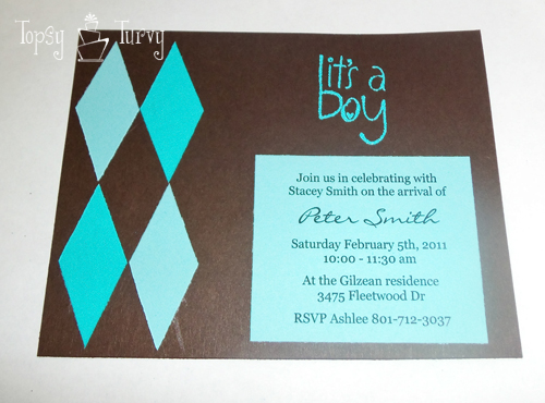 argyle baby shower invitation embossed stamp
