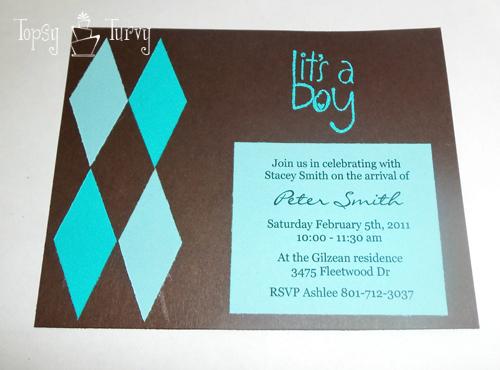 argyle baby shower invitation embossed stamp