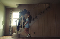 (yyellowbird) Tags: boy house abandoned love girl stairs happy illinois kiss couple shane lolita cari miss rockford