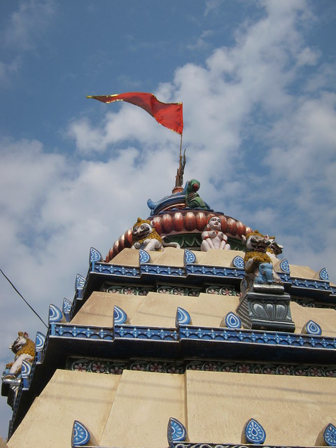 Orissa flag atop temple