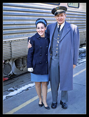 Zephyrette and Conductor - 1968 (sjb4photos) Tags: grandjunction californiazephyr railroadconductor zephyrette ceceliascherer