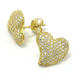 diamond heart gold stud earrings