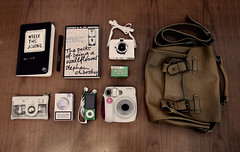 * (AshtrayGirl-) Tags: bag this lomo fuji ipod whats being journal hipster books mini diana your lucky indie strike wreck perks wallflower instax