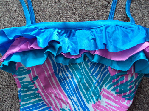Crazy Striped Print Swimsuit with Ruffle (detail)