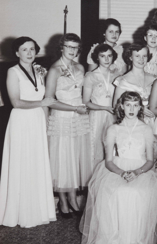 Detail of a 1950s photo of the International Order of the Rainbow for Girls in Rugby, North Dakota - Catherine Hornstein (standing far left) was the Mother Advisor - Photo by Stands Studio of Rugby, N