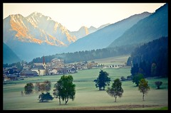 Tirol - in the morning (NPP-publik_oberberg) Tags: wood morning autumn mist mountain tree art fall fog forest landscape tirol creative dust oberberg vilage