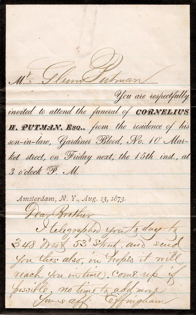 Funeral Invitation and Letter, 1873