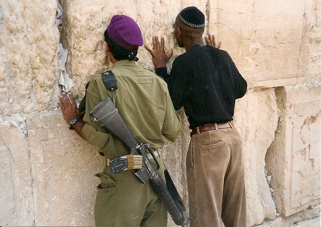 Jerusalem, 1995, Praying with IDF soldier from Givati Brigades at Wailing Wall, Western Wall, Kotel