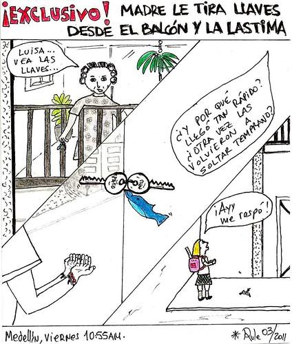 MADRE LE TIRA LLAVES DESDE EL BALCÓN Y LA LASTIMA