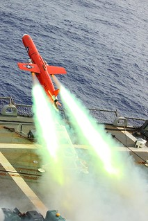 From flickr.com/photos/56594044@N06/5512792638/: Drone launches from flight deck of USS Lassen.