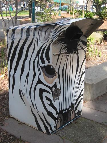 Zebra Mural on Bin